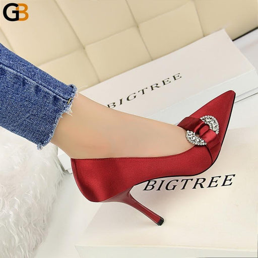Spring Elegant Women High Heel Satin Crystal Pumps Red Black Heels Rhinestone Stiletto Pumps - SolaceConnect.com