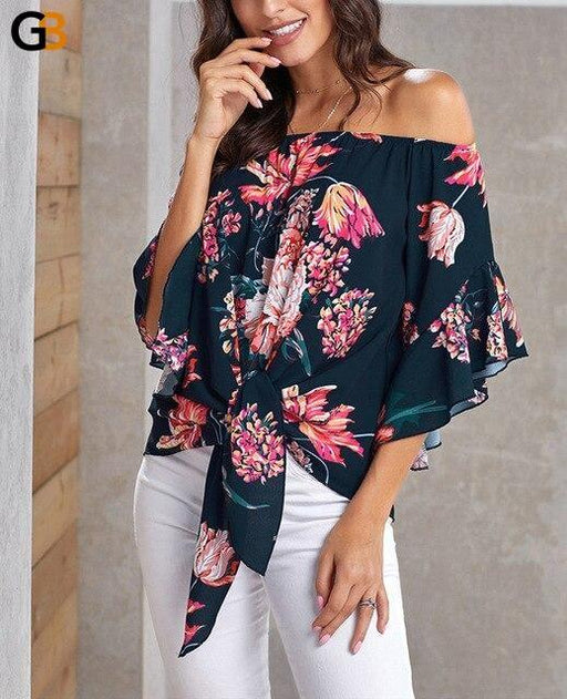 Women's Summer Knot Floral Print Elegant Short Sleeve T-Shirt Tops - SolaceConnect.com