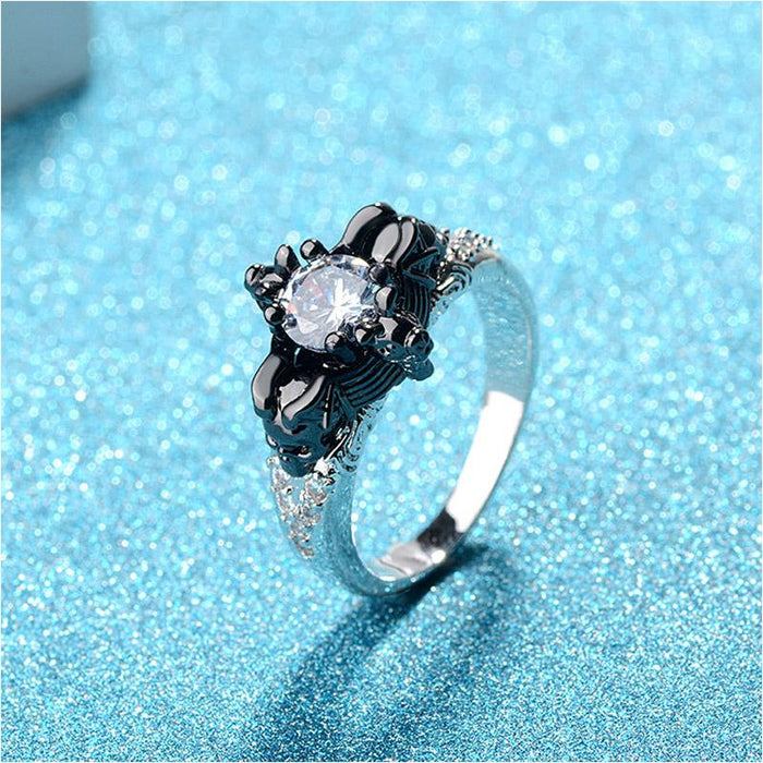 Crystal Zircon Fashion Black Skull Halloween Rings Jewelry for Girls - SolaceConnect.com
