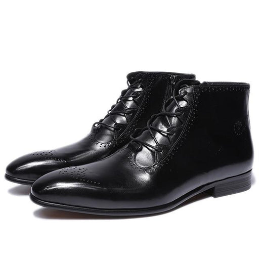 Men Leather Boots Handmade Genuine Leather Mens Ankle Boots Handmade High Top Zip Lace Up Dress - SolaceConnect.com