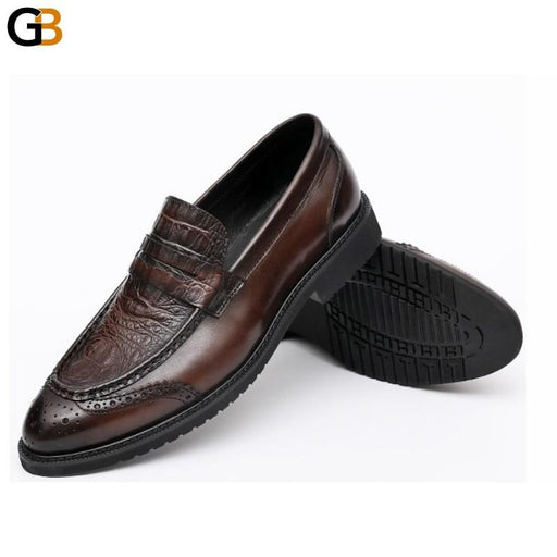 Luxury Loafers Men Autumn Crocodile Pattern British Genuine Leather Shoes Vintage Pointed Toe - SolaceConnect.com