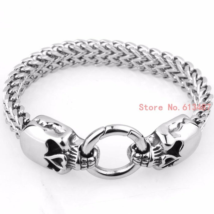 Gothic Punk Skull Bracelet 316L Stainless Steel Bracelet Silver Color Bangle Jewelry For Men & Women - SolaceConnect.com