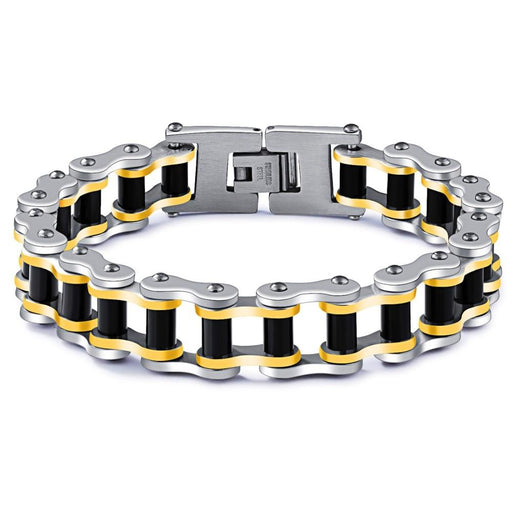 Punk Rock Stainless Steel Men's Link Chain Motorcycle Biker Bracelet - SolaceConnect.com