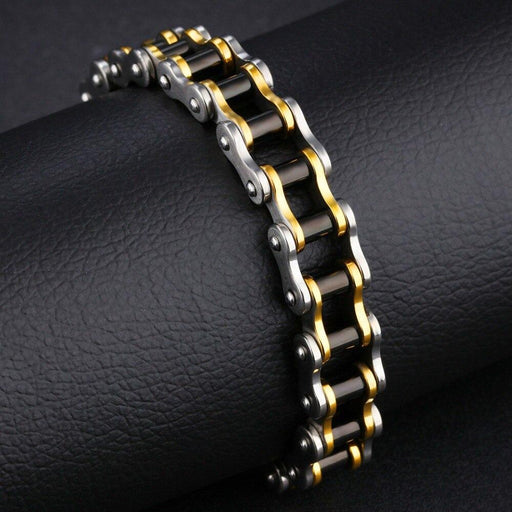 Punk Rock 316L Stainless Steel Biker Mens Bracelet Link Chain Motorcycle Bike Bicycle Chain - SolaceConnect.com