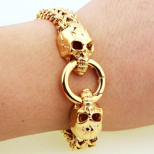 Men's Stainless Steel Gothic Skull Head Chain Bracelet Bangle Biker Jewelry - SolaceConnect.com