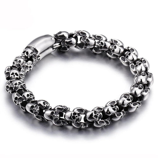 Punk Skull Bracelets For Men Stainless Steel Shiny Skull Charm Link Chain Brecelets Male Gothic - SolaceConnect.com