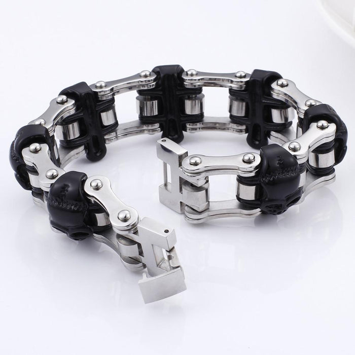 Punk Stainless Steel Shiny Long Skull Link Chain Bracelets for Men - SolaceConnect.com