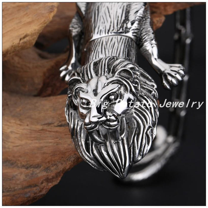 Punk Jewelry Stainless Steel Lazy Lion Men's Male Bracelet Bangle 22cm Perfect Technology - SolaceConnect.com