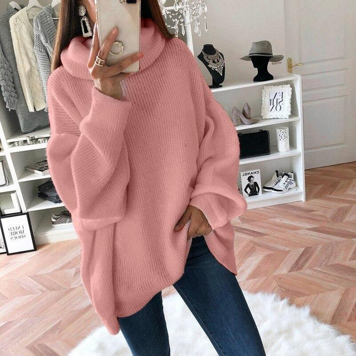 Women Loose Oversize Turtleneck Sweater Dress Women Autumn Winter White Gray Casual Lady Knitted