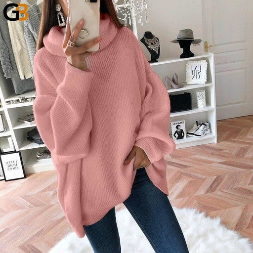 Women Loose Oversize Turtleneck Sweater Dress Women Autumn Winter White Gray Casual Lady Knitted - SolaceConnect.com