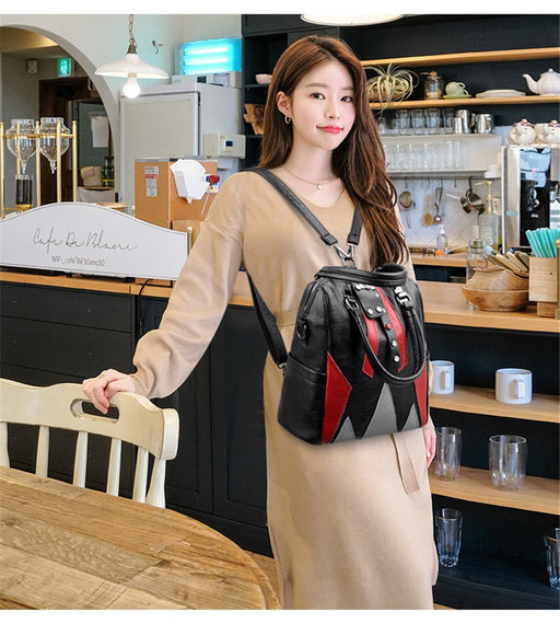 Women's Genuine Leather Casual Travel Mochilas Backpacks Shoulder Bags - SolaceConnect.com