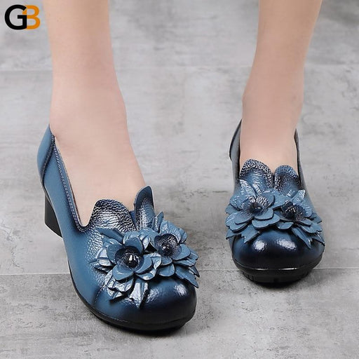 Vintage Women's Autumn Spring Leather Low Thick Heels Handmade Flower Shoe - SolaceConnect.com