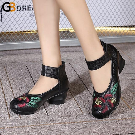 National Style Embroidered Flower Leather Hook and Loop Semi-High Shoes - SolaceConnect.com
