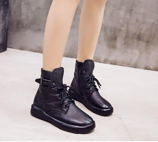 European American Style Side Zipper Handmade Leather Flat Ankle Boots - SolaceConnect.com