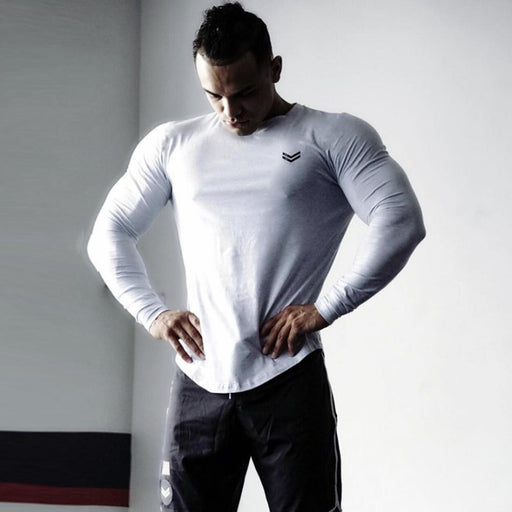 Autumn Men's Cotton Skinny Long sleeve Sporty T-shirt for Gyms Workout - SolaceConnect.com