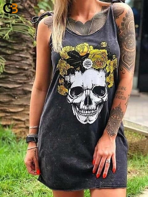 Women Sexy Vintage Skull Finger Printed Sleeveless Long T-shirts - SolaceConnect.com