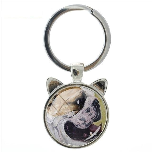 Fashion Cute Cartoon Dog Animal Art Glass Cabochon Keychain Ring Holder - SolaceConnect.com