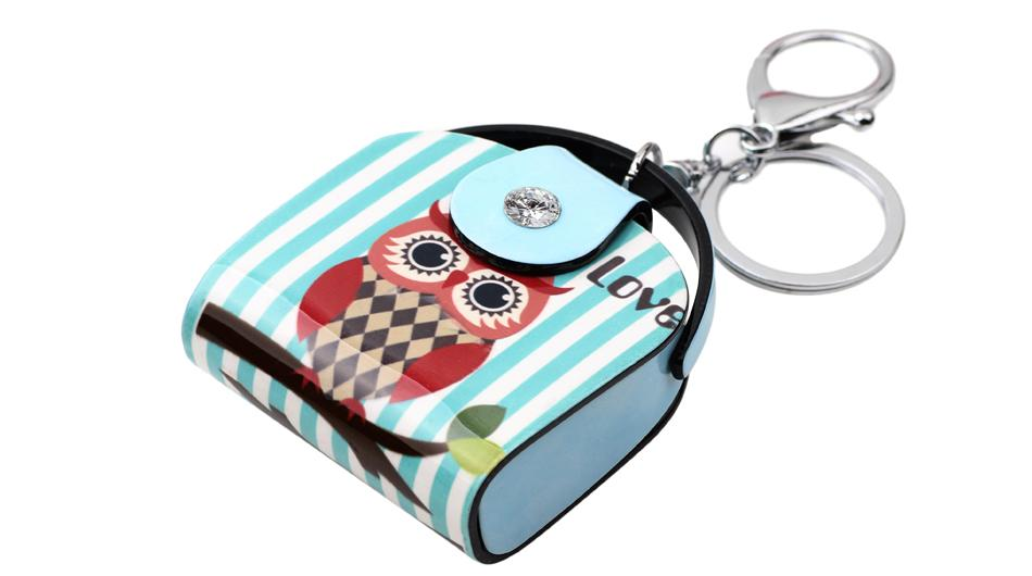 Women's Handbag Shape Owl Print Key Chain Key Ring Jewelry for Car Key - SolaceConnect.com