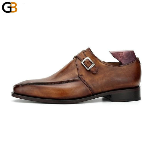 Blake Men Office Dress Shoes Formal Leather Elegant Social Business Leather Sole Monk Straps Dark - SolaceConnect.com