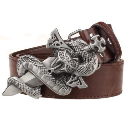 Metal leather belt punk Belt Knife Metal belts Snake totem sword wild Street Dance hip hop Belts - SolaceConnect.com