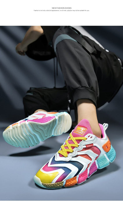 Men's Colorful Thick Sole Breathable Light Running Mesh Shoes Sneakers - SolaceConnect.com
