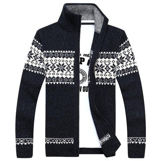 Fashion Patchwork Sweater Men Windbreaker Warm Fashion Cardigan Men Sweatercoats Knitted Sweaters - SolaceConnect.com