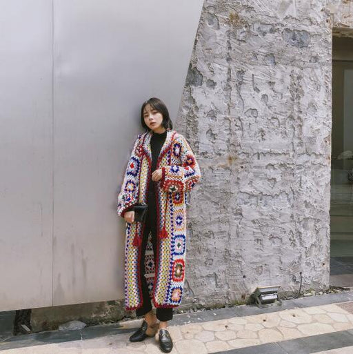 Vintage Knitting Long Mid-calf Coat Women Hand Made Chinese Style Outerwear Long Sleeve Patchwork - SolaceConnect.com