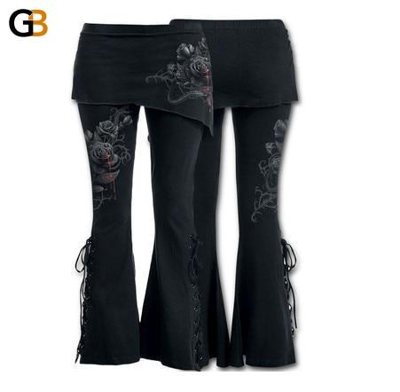 Women Plus Size 5XL Trousers Fashion Flower Printed Sexy bandage Stretch Large 4' and '5 Flare Pants - SolaceConnect.com