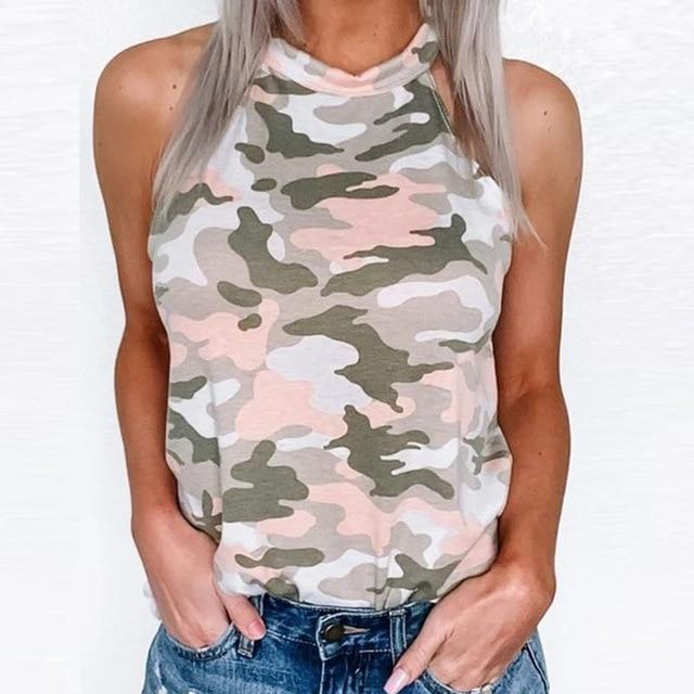 Camouflage Print T-Shirt Women Sleeveless Off Shoulder Shirts Summer Tops & Tees Sexy Halter Neck - SolaceConnect.com