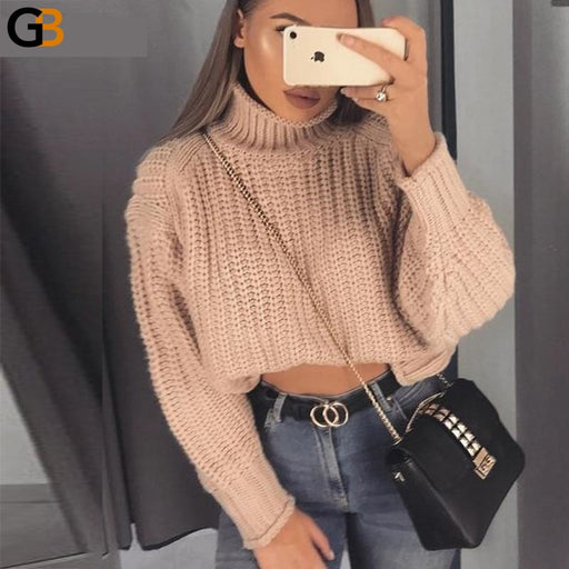 Long Sleeve Turtleneck Loose Thick Women's Pullovers Sweater - SolaceConnect.com