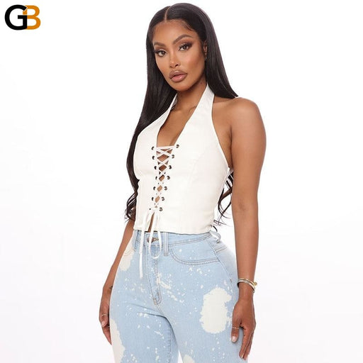 White Halter Sleeveless Bandage Solid Hollow Out Sexy Tank Tops - SolaceConnect.com
