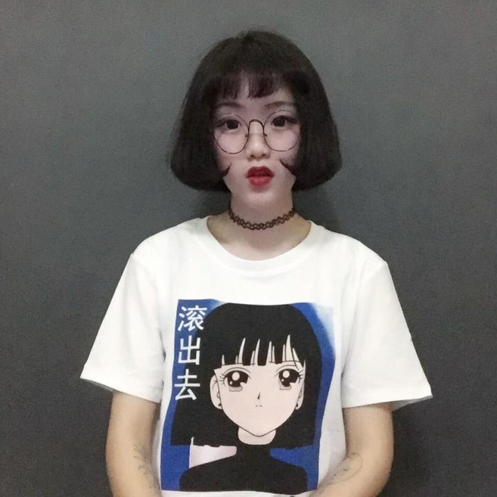 All-match Chinese Letter and Cartoon Girl Printed Short Sleeve T-Shirt - SolaceConnect.com