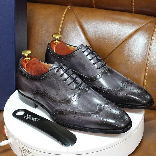 Size 6-13 Handmade Mens Wingtip Oxford Shoes Grey Genuine Leather Brogue Men's Dress Shoes Classic - SolaceConnect.com