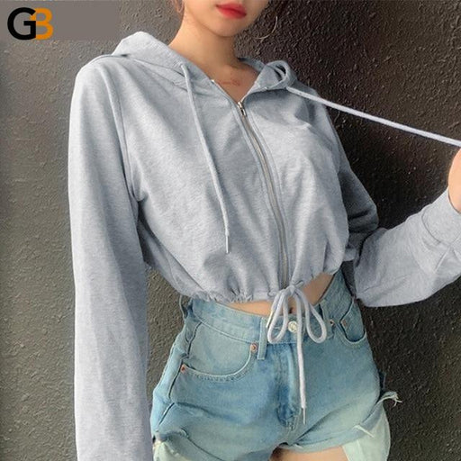 Black White Long Sleeve Hoodies Drawstring Women Sweatshirts Autumn Winter Zipper Casual Crop Hoodie - SolaceConnect.com