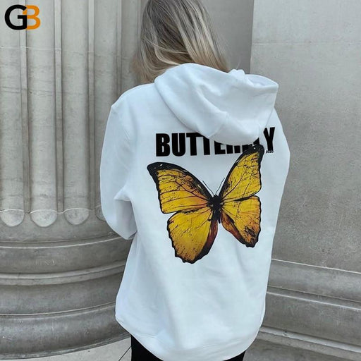 Unisex Black White Long Sleeve Butterfly Print Loose Sweatshirts - SolaceConnect.com
