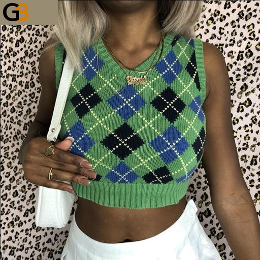 Autumn Winter V Neck Sleeveless Plaid Pullover Knitted Vest Sweater - SolaceConnect.com