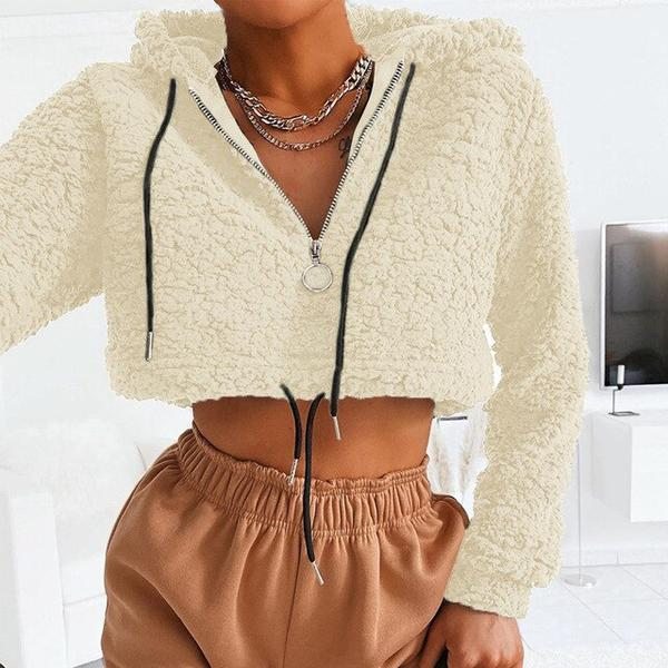Long Sleeve Autumn Winter Pullover Zipper Sweatshirt Thick Shaggy Cashmere Sweatshirts Casual - SolaceConnect.com