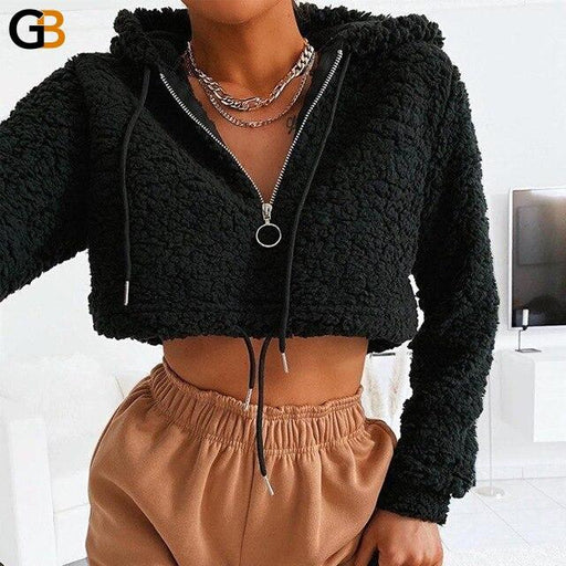 Casual Long Sleeve Autumn Winter Pullover Zipper Thick Shaggy Sweatshirt - SolaceConnect.com