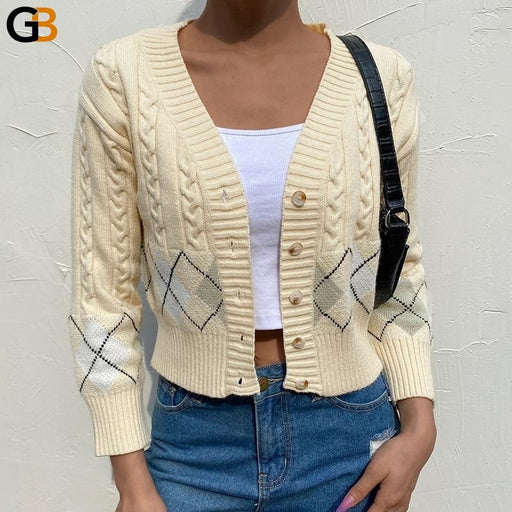 Short Casual V Neck Long Sleeve Plaid Single Breasted Cardigan for Women - SolaceConnect.com