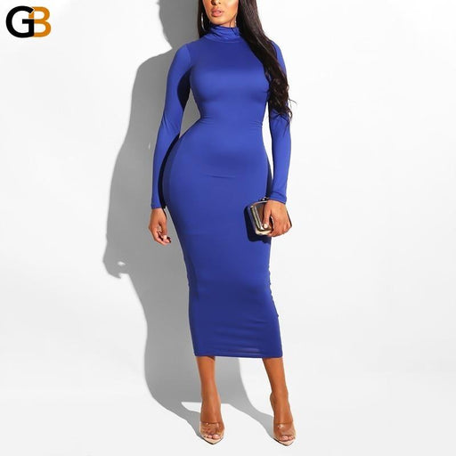 Package Hip Turtleneck Midi Woman Dress Autumn Winter Dress Sexy Party Dress Long Sleeve Slim Solid - SolaceConnect.com