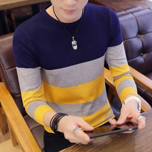 Slim Mens Sweaters and Pullovers Korean Style Knitted Sweater Long Sleeve Pullovers Homme Blue - SolaceConnect.com