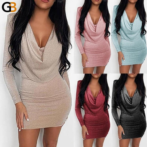 Sexy Deep v neck dress Woman High waist Sequins Slim Package hip Party clothing A line dress - SolaceConnect.com