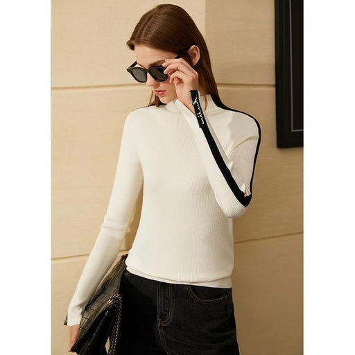 Minimalism Winter Fashion Sweaters For Women Causal Patchwork Women's Turtleneck Sweater Slim Fit - SolaceConnect.com