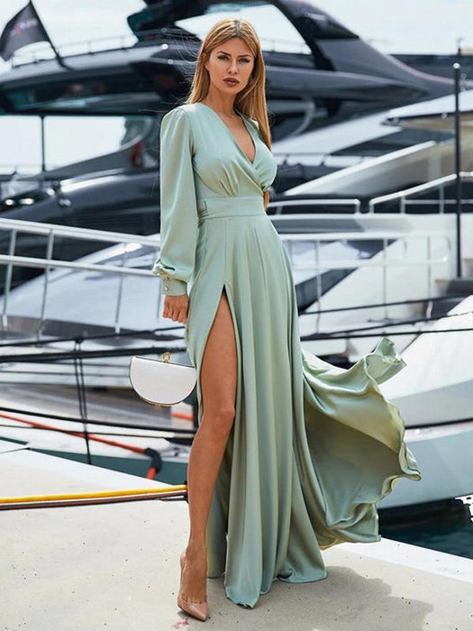 V Neck Wrap Sashes Sexy Elegant Party Dress Split Long Sleeve Women Maxi Red Club Spring Autumn Lady - SolaceConnect.com