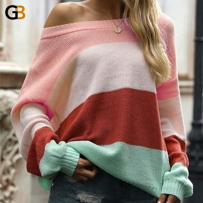 Purple O Neck Long Sleeve Knitted Stripe Patchwork Pullovers for Women - SolaceConnect.com