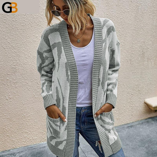 Autumn Khaki Long Sleeve Knitted Loose Women's Cardigan Sweater - SolaceConnect.com