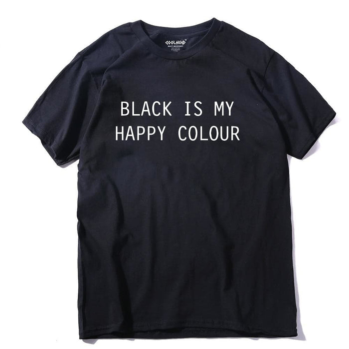 Black Is My Happy Colour Letter Printed Cotton T-shirt for Men - SolaceConnect.com