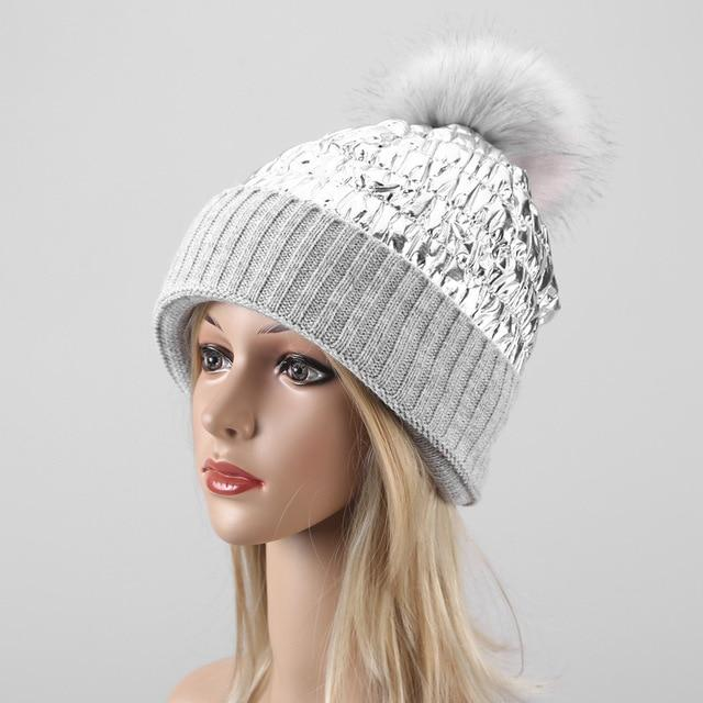 Hair ball stitching knitted hat ladies cold down warm earmuffs ski cap gorros mujer invierno hats - SolaceConnect.com