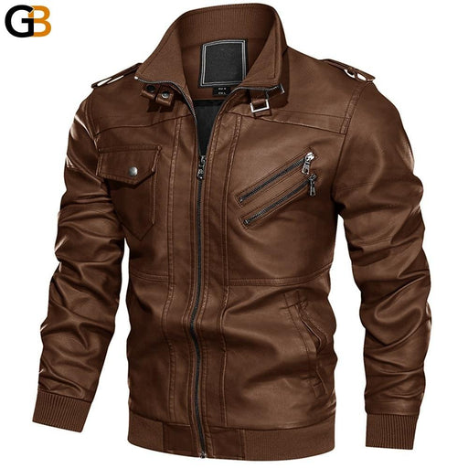 Leather Jacket Men Multi pockets Motorcycle Biker Faux Leather Jackets Vintage Casual PU Leather - SolaceConnect.com