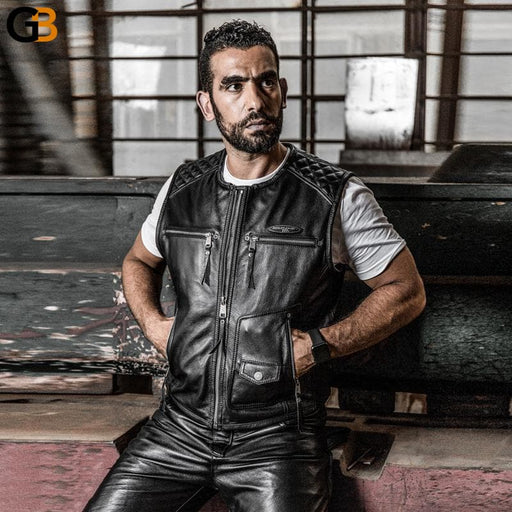 Super Motor Rider Mens Cow Leather Coat Genuine Cowhide Motorcycle Vest HA-85 - SolaceConnect.com